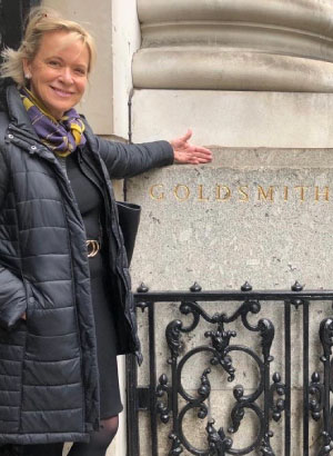 Jill Nes outside the Goldsmith hall in London